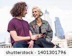 happy couple talking sitting... | Shutterstock . vector #1401301796