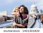 happy couple hugging by... | Shutterstock . vector #1401301820