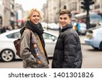 happy couple of friends... | Shutterstock . vector #1401301826