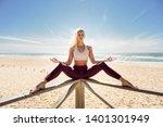 caucasian woman practicing yoga ... | Shutterstock . vector #1401301949