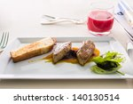 fried foie gras with apricot... | Shutterstock . vector #140130514