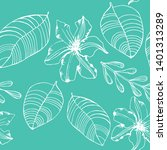 flower and palm leaves tropical ... | Shutterstock .eps vector #1401313289