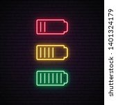 set of battery neon icon.... | Shutterstock .eps vector #1401324179