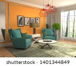 interior with chair. 3d... | Shutterstock . vector #1401344849