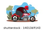a guy riding motorbike vector...