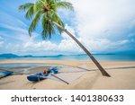 beautiful beach. summer holiday ... | Shutterstock . vector #1401380633