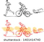 triathlon athletes doing run... | Shutterstock .eps vector #1401414740