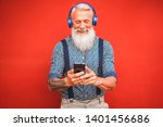 trendy senior man using...   Shutterstock . vector #1401456686