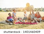 happy families doing picnic in... | Shutterstock . vector #1401460409