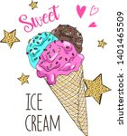 hand drawn cute ice cream... | Shutterstock .eps vector #1401465509