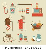 Vector set of stylized granny icons