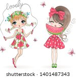 two hand drawn beautiful cute... | Shutterstock .eps vector #1401487343