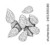 almonds black and white...   Shutterstock .eps vector #1401500180