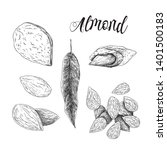 almonds black and white...   Shutterstock .eps vector #1401500183
