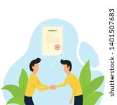 deal contract. two man deal...   Shutterstock .eps vector #1401507683