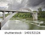 Oregon City Arch Bridge Over Willamette River Connecting West Linn and Oregon City