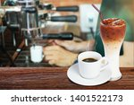 coffee cup on wooden table on...   Shutterstock . vector #1401522173
