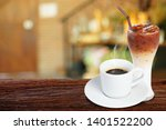 coffee cup on wooden table on...   Shutterstock . vector #1401522200