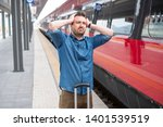 man lost the train arrived late ... | Shutterstock . vector #1401539519