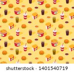 fast food seamless isometric...   Shutterstock .eps vector #1401540719