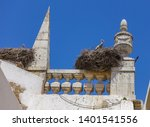 stork nesting in the spires of... | Shutterstock . vector #1401541556