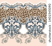 baroque seamless pattern with... | Shutterstock .eps vector #1401545090