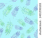 watercolor tropical pattern... | Shutterstock . vector #1401550103