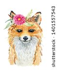 cute fox. watercolor... | Shutterstock . vector #1401557543