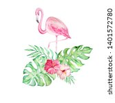 watercolor pink flamingo with a ... | Shutterstock . vector #1401572780