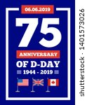 D-day 75th anniversary of the naval landing operation during the Second World War by the forces of the USA, Great Britain, Canada. Vector illustartion on blue background