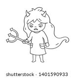 Angry Little Girl In Dress Wit...