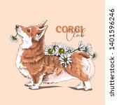 funny welsh corgi dog with a... | Shutterstock .eps vector #1401596246
