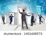 businessman in uncertainty... | Shutterstock . vector #1401608573