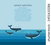 whale family. arctic scene with ... | Shutterstock . vector #1401610286