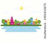 small town at river. cartoon... | Shutterstock . vector #1401613673