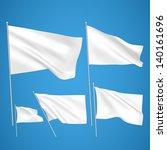 white vector flags on blue... | Shutterstock .eps vector #140161696