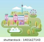 ideal city abstract idyllic... | Shutterstock . vector #1401627143