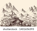 river flowing in the mountains. ...   Shutterstock .eps vector #1401656393
