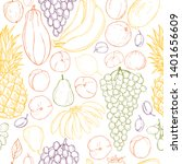 hand drawn fruits on white... | Shutterstock .eps vector #1401656609