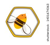 honey comb icon with cute... | Shutterstock .eps vector #1401674363