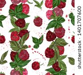 raspberry seamless pattern. ... | Shutterstock .eps vector #1401707600