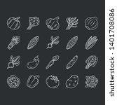vegetables chalk icons set.... | Shutterstock .eps vector #1401708086