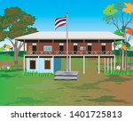 thailand school at countryside...   Shutterstock .eps vector #1401725813