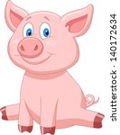 cute pig cartoon | Shutterstock . vector #140172634