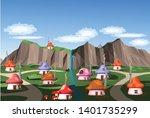 natural mushroom house vector...   Shutterstock .eps vector #1401735299