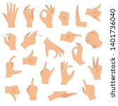 flat hand gestures. pointing... | Shutterstock .eps vector #1401736040