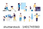 kids parents cleaning. mother... | Shutterstock .eps vector #1401745583