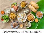 vietnamese food background with ... | Shutterstock . vector #1401804026