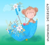 postcard cute monkey umbrella...   Shutterstock .eps vector #1401814379