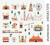 beautiful amusement park design ... | Shutterstock .eps vector #1401817370
